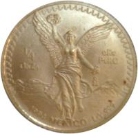 reverse of 1/4 Onza - Libertad Gold Bullion (1991 - 1994) coin with KM# 590 from Mexico. Inscription: 1/4 ONZA ORO PURO Mo 1994 MEXICO LEY .999