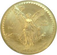 reverse of 1/2 Onza - Libertad Gold Bullion (1991 - 1994) coin with KM# 591 from Mexico. Inscription: 1/2 ONZA ORO PURO Mo 1994 MEXICO LEY .999