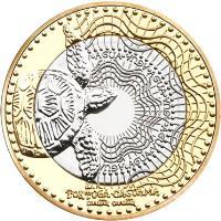 obverse of 1000 Pesos (2012 - 2015) coin with KM# 299 from Colombia. Inscription: TORTUGA CAGUAMA caretta caretta