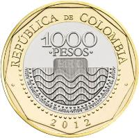 reverse of 1000 Pesos (2012 - 2015) coin with KM# 299 from Colombia. Inscription: REPUBLICA DE COLOMBIA 1000 PESOS 2012