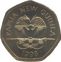 obverse of 50 Toea - Elizabeth II - Silver Jubilee of Bank of Papua New Guinea (1998) coin with KM# 41 from Papua New Guinea. Inscription: PAPUA NEW GUINEA 1998