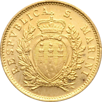 obverse of 1 Scudo - Coat of Arms (1975) coin with KM# 49 from San Marino. Inscription: RESPVBLICA S. MARINI