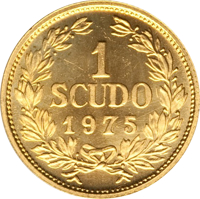 reverse of 1 Scudo - Coat of Arms (1975) coin with KM# 49 from San Marino. Inscription: 1 SCUDO 1975