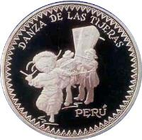 obverse of 1 Nuevo Sol - Danza de las Tijeras (1997) coin with KM# 349 from Peru. Inscription: DANZA DE LAS TIJERAS PERU