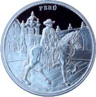 obverse of 1 Nuevo Sol - Chálán Rider (2000) coin with KM# 326 from Peru. Inscription: PERÚ CABALLO PERUANO DE PASO