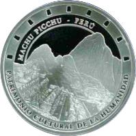 obverse of 1 Nuevo Sol - Machu Pichu (2005) coin with KM# 339 from Peru. Inscription: MACHU PICHU - PERÚ PATRIMONIO CULTURAL DE LA HUMANIDAD
