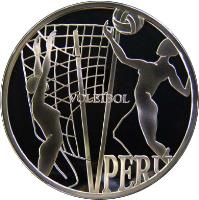 obverse of 1 Nuevo Sol - Volleyball (2007) coin with KM# 357 from Peru. Inscription: VOLEIBOL PERU