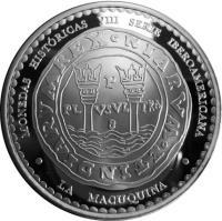 obverse of 1 Nuevo Sol - La Macuqina (2010) coin with KM# 359 from Peru. Inscription: MONEDAS HISTÓRICAS VIII SERIE IBEROAMERICANA M R E X O N I A R V M O E T I N D I A R V P PL VSVL TRA 8 LA MACUQUINA