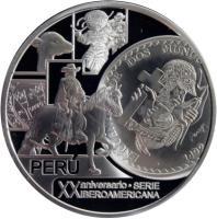 obverse of 1 Nuevo Sol - Ibero-American (2012) coin with KM# 369 from Peru. Inscription: PERU XX ANIVERARIO . SERIE IBEROAMARICANA