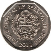 obverse of 1 Nuevo Sol - Wealth and pride of Peru: Sacred City of Caral (2014) coin with KM# 379 from Peru. Inscription: BANCO CENTRAL DE RESERVA DEL PERÚ 2014