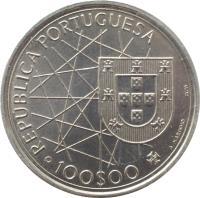 obverse of 100 Escudos - Discovery of Azores (1989) coin with KM# 648 from Portugal. Inscription: REPUBLICA PORTUGUESA · 100$00
