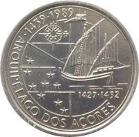 reverse of 100 Escudos - Discovery of Azores (1989) coin with KM# 648 from Portugal. Inscription: · 1439 · 1989 ARQUIPÉLAGO DOS AÇORES 1427 · 1452