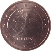 obverse of 2 Euro Cent (2015 - 2018) coin with KM# 206 from Lithuania. Inscription: 2015 LIETUVA