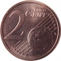 reverse of 2 Euro Cent (2015 - 2018) coin with KM# 206 from Lithuania. Inscription: 2 EURO CENT LL