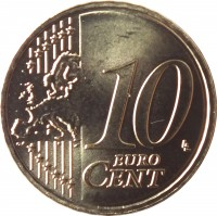 reverse of 10 Euro Cent (2015 - 2018) coin with KM# 208 from Lithuania. Inscription: 10 EURO CENT LL