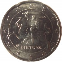 obverse of 20 Euro Cent (2015 - 2018) coin with KM# 209 from Lithuania. Inscription: 2015 LIETUVA
