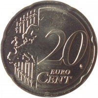 reverse of 20 Euro Cent (2015 - 2018) coin with KM# 209 from Lithuania. Inscription: 20 EURO CENT LL