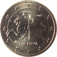 obverse of 50 Euro Cent (2015 - 2018) coin with KM# 210 from Lithuania. Inscription: 2015 LIETUVA