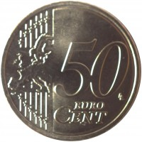 reverse of 50 Euro Cent (2015 - 2018) coin with KM# 210 from Lithuania. Inscription: 50 EURO CENT LL
