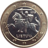 obverse of 1 Euro (2015 - 2018) coin with KM# 211 from Lithuania. Inscription: 2015 LIETUVA