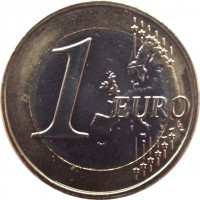 reverse of 1 Euro (2015 - 2018) coin with KM# 211 from Lithuania. Inscription: 1 EURO