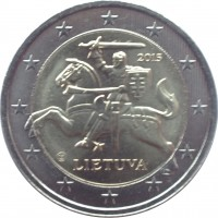 obverse of 2 Euro (2015 - 2018) coin with KM# 212 from Lithuania. Inscription: 2015 LIETUVA