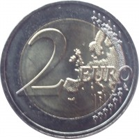 reverse of 2 Euro (2015 - 2018) coin with KM# 212 from Lithuania. Inscription: 2 EURO