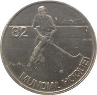 reverse of 5 Escudos - Roller Hockey Championship (1983) coin with KM# 615 from Portugal. Inscription: 82 MUNDIAL HOQUEI