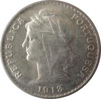 obverse of 50 Centavos (1912 - 1916) coin with KM# 561 from Portugal. Inscription: REPUBLICA PORTUGUESA 1916