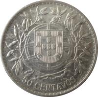 reverse of 50 Centavos (1912 - 1916) coin with KM# 561 from Portugal. Inscription: 50 CENTAVOS