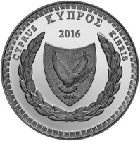 obverse of 5 Euro - Dimitris Lipertis on the 150th anniversary of his birth (2016) coin from Cyprus. Inscription: ΚΥΠΡΟΣ CYPRUS KIBRIS 2016 1960