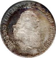 obverse of 1/3 Reichsthaler - Friedrich Wilhelm II (1787 - 1798) coin with KM# 344 from German States. Inscription: FRIED.WILHELM KOENIG VON PRUSSEN