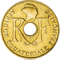 obverse of 5 Centimes (1943) coin with KM# 3 from French Equatorial Africa. Inscription: RF AFRIQUE EQUATORIALE FRANÇAISE