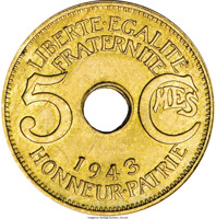 reverse of 5 Centimes (1943) coin with KM# 3 from French Equatorial Africa. Inscription: LIBERTE·EGALITE FRATERNITE 5 CMES 1943 HONNEUR·PATRIE