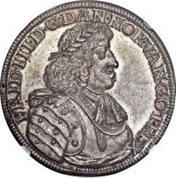 obverse of 1 Speciedaler - Frederik III (1667) coin with KM# 288 from Denmark. Inscription: FRID·III·D·G·DAN·NOR·VAN·GOT·REX