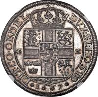 reverse of 1 Speciedaler - Frederik III (1667) coin with KM# 288 from Denmark. Inscription: G | K * 1667 * DVX·SL·HO·STO | DIT·CO·OL&DEL