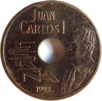 obverse of 25 Pesetas - Juan Carlos I - Giralda Tower of Sevilla (1992) coin with KM# 904 from Spain. Inscription: JUAN CARLOS I ESPAÑA 1992