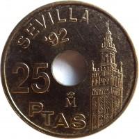 reverse of 25 Pesetas - Juan Carlos I - Giralda Tower of Sevilla (1992) coin with KM# 904 from Spain. Inscription: SEVILLA '92 25 PTAS