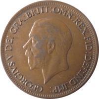 obverse of 1/2 Penny - George V - Small head (1928 - 1936) coin with KM# 837 from United Kingdom. Inscription: GEORGIVS V DEI GRA:BRITT:OMN:REX FID:DEF:IND:IMP