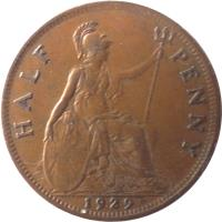 reverse of 1/2 Penny - George V - Small head (1928 - 1936) coin with KM# 837 from United Kingdom. Inscription: HALF PENNY 1929