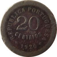 reverse of 20 Centavos (1920 - 1922) coin with KM# 571 from Portugal. Inscription: REPUBLICA PORTUGUESA 20 CENTAVOS 1920