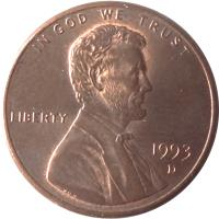 obverse of 1 Cent - Lincoln Memorial Cent (1983 - 2008) coin with KM# 201b from United States. Inscription: IN GOD WE TRUST LIBERTY 1993 D VDB