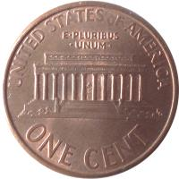 reverse of 1 Cent - Lincoln Memorial Cent (1983 - 2008) coin with KM# 201b from United States. Inscription: UNITED STATES OF AMERICA E · PLURIBUS · UNUM · ONE CENT