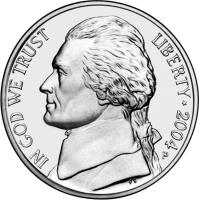 obverse of 5 Cents - Louisiana Purchase - Jefferson Nickel (2004) coin with KM# 360 from United States. Inscription: IN GOD WE TRUST LIBERTY * 2004 FS