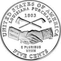reverse of 5 Cents - Louisiana Purchase - Jefferson Nickel (2004) coin with KM# 360 from United States. Inscription: UNITED STATES OF AMERICA LOUISIANA PURCHASE 1803 E PLURIBUS UNUM FIVE CENTS NEN