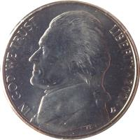 obverse of 5 Cents - Westward Journey Keelboat - Jefferson Nickel (2004) coin with KM# 361 from United States. Inscription: IN GOD WE TRUST LIBERTY * 2004 FS