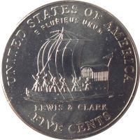 reverse of 5 Cents - Westward Journey Keelboat - Jefferson Nickel (2004) coin with KM# 361 from United States. Inscription: UNITED STATES OF AMERICA E PLURIBUS UNUM Am LEWIS & CLARK FIVE CENTS