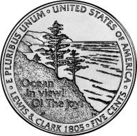 reverse of 5 Cents - Westward Journey Ocean View - Jefferson Nickel (2005) coin with KM# 369 from United States. Inscription: Ocean in view! O! The joy! E PLURIBUS UNUM · UNITED STATES OF AMERICA · LEWIS & CLARK 1805 · FIVE CENTS · JF DW
