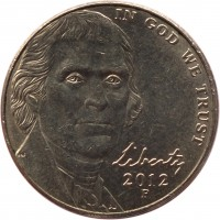 obverse of 5 Cents - Return to Monticello - Jefferson Nickel; 2'nd Portrait (2006 - 2015) coin with KM# 381 from United States. Inscription: IN GOD WE TRUST Liberty 2012 P JNF DW