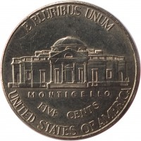 reverse of 5 Cents - Return to Monticello - Jefferson Nickel; 2'nd Portrait (2006 - 2015) coin with KM# 381 from United States. Inscription: E PLURIBUS UNUM MONTICELLO FIVE CENTS UNITED STATES OF AMERICA FS